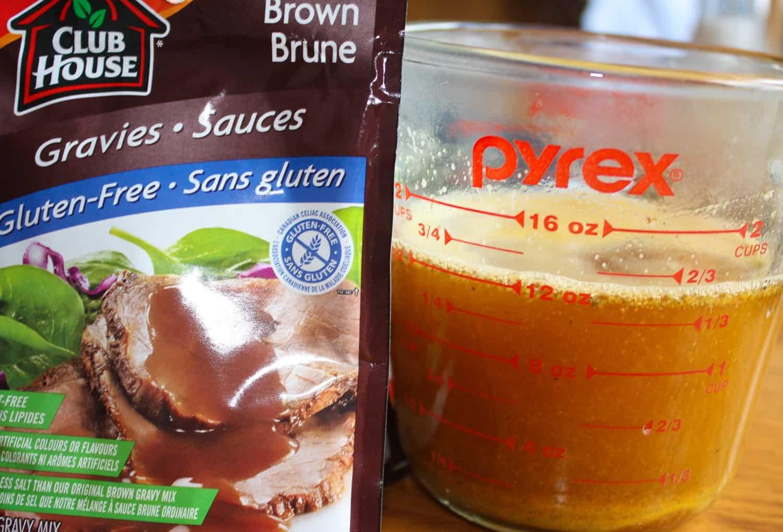 Adding gravy to broth.