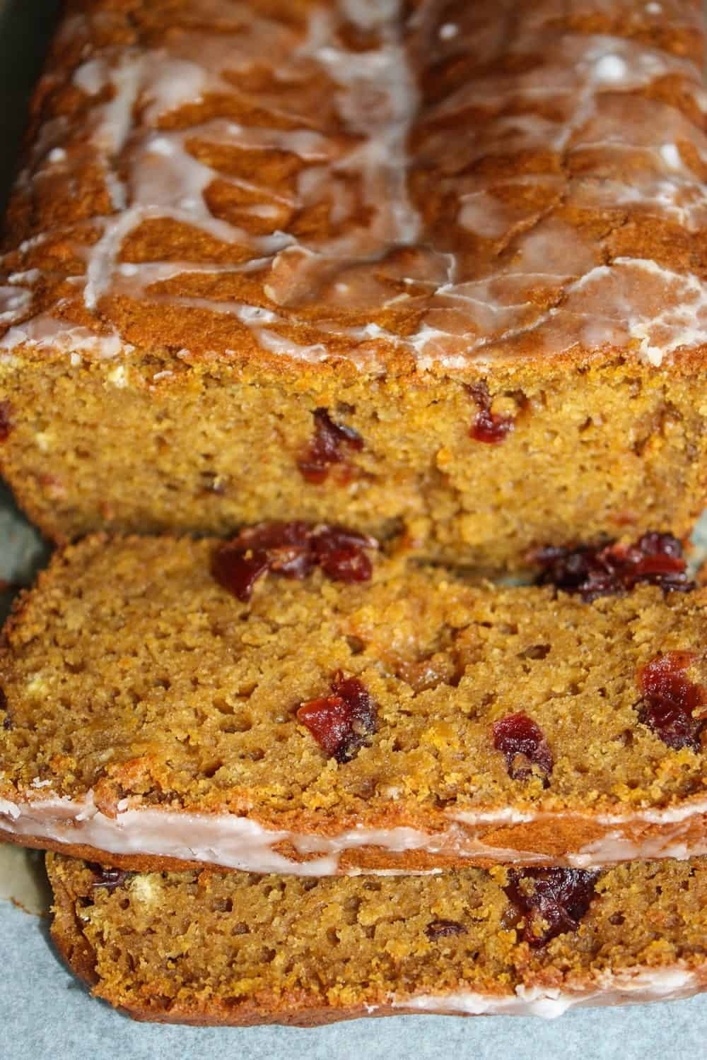 What better combination for fall then pumpkin and cranberry! This Pumpkin Cranberry Loaf is a great addition to your fall or holiday menus. It is loaded with flavour and cranberries.