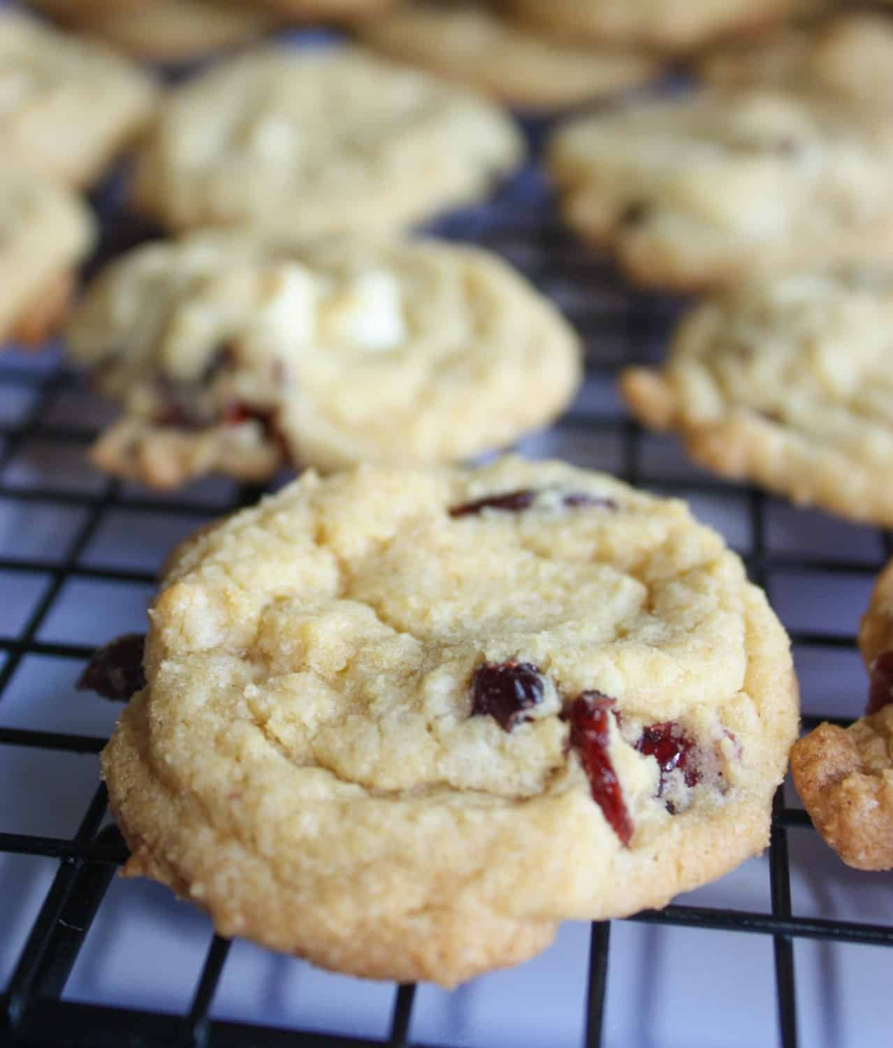 White Chocolate Cranberry Cookies are a tasty, chewy alternative to the classic chocolate chip cookie. The dried cranberries add a nice pop of colour for the holiday season.