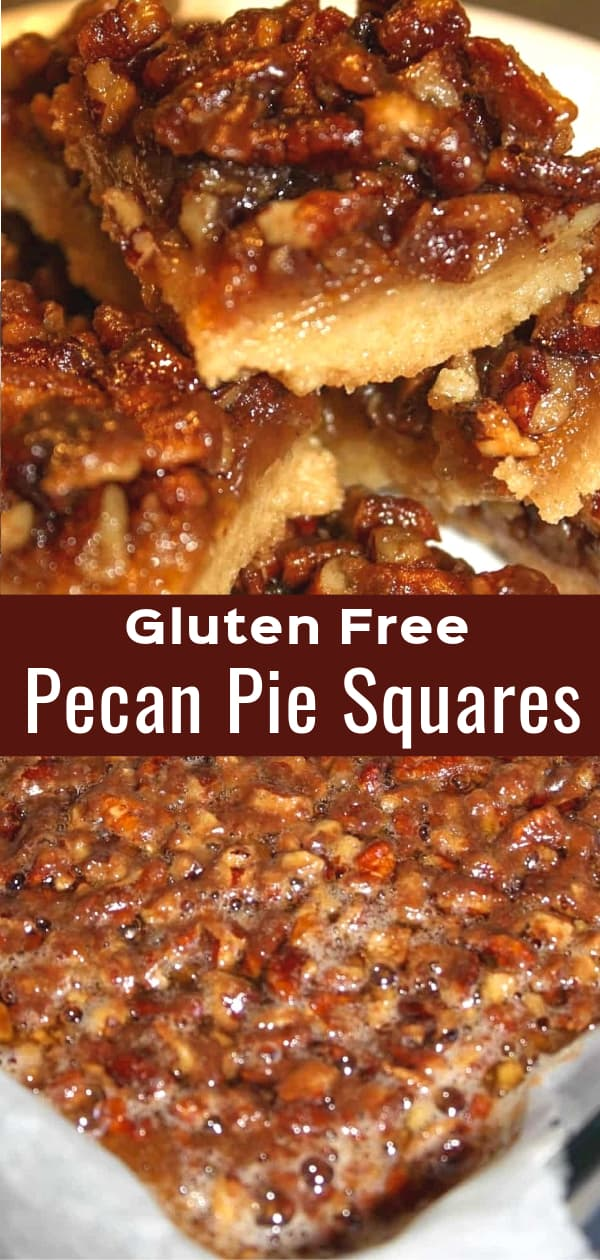 Gluten Free Pecan Pie Squares are an easy dessert recipe perfect for Christmas. This fun twist on the classic pecan pie has a pastry base and chewy topping loaded with chopped pecans.