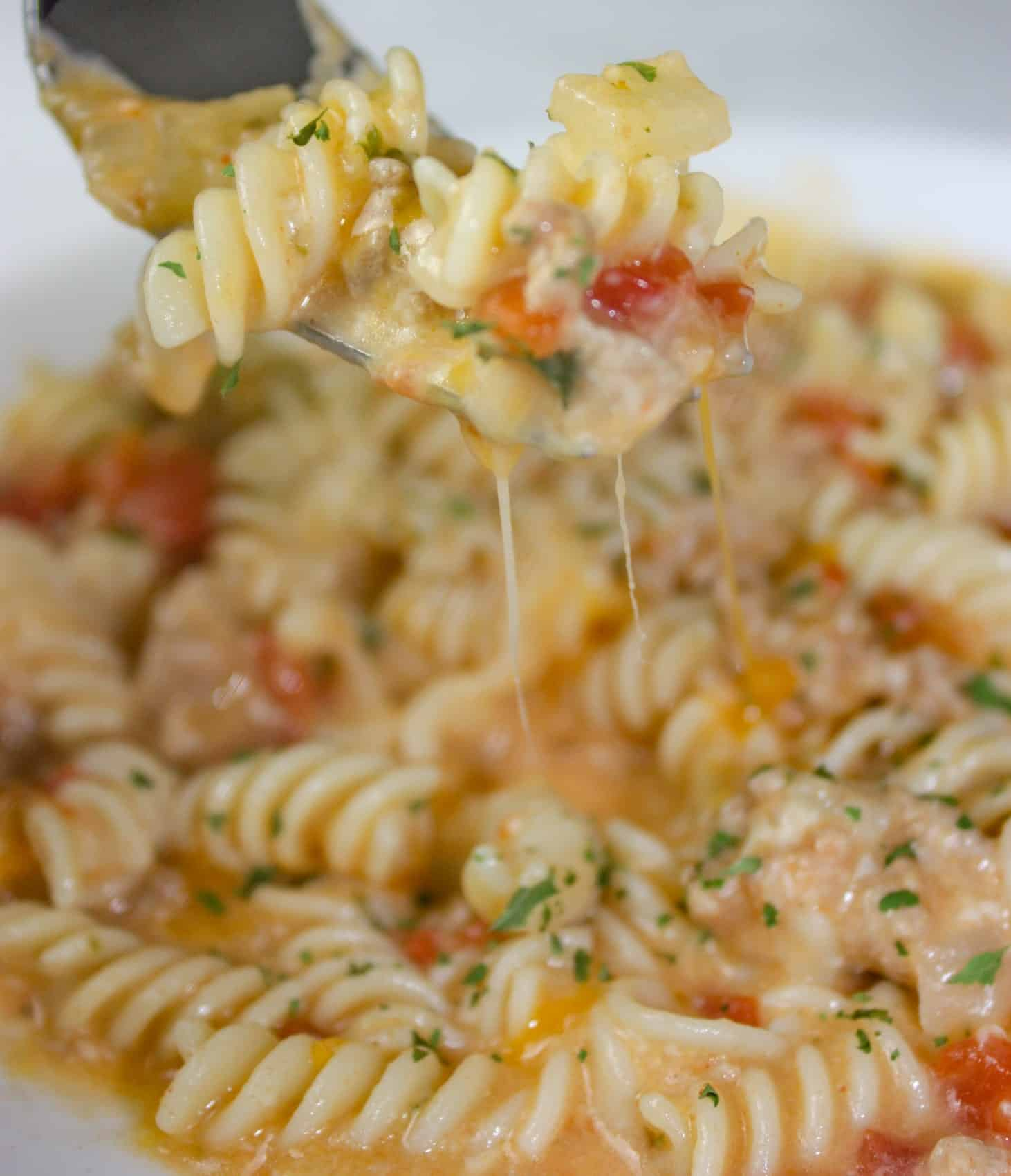 Instant Pot Cheesy Pasta and Turkey is an easy and delicious one pot pasta dish smothered in a creamy cheese sauce.