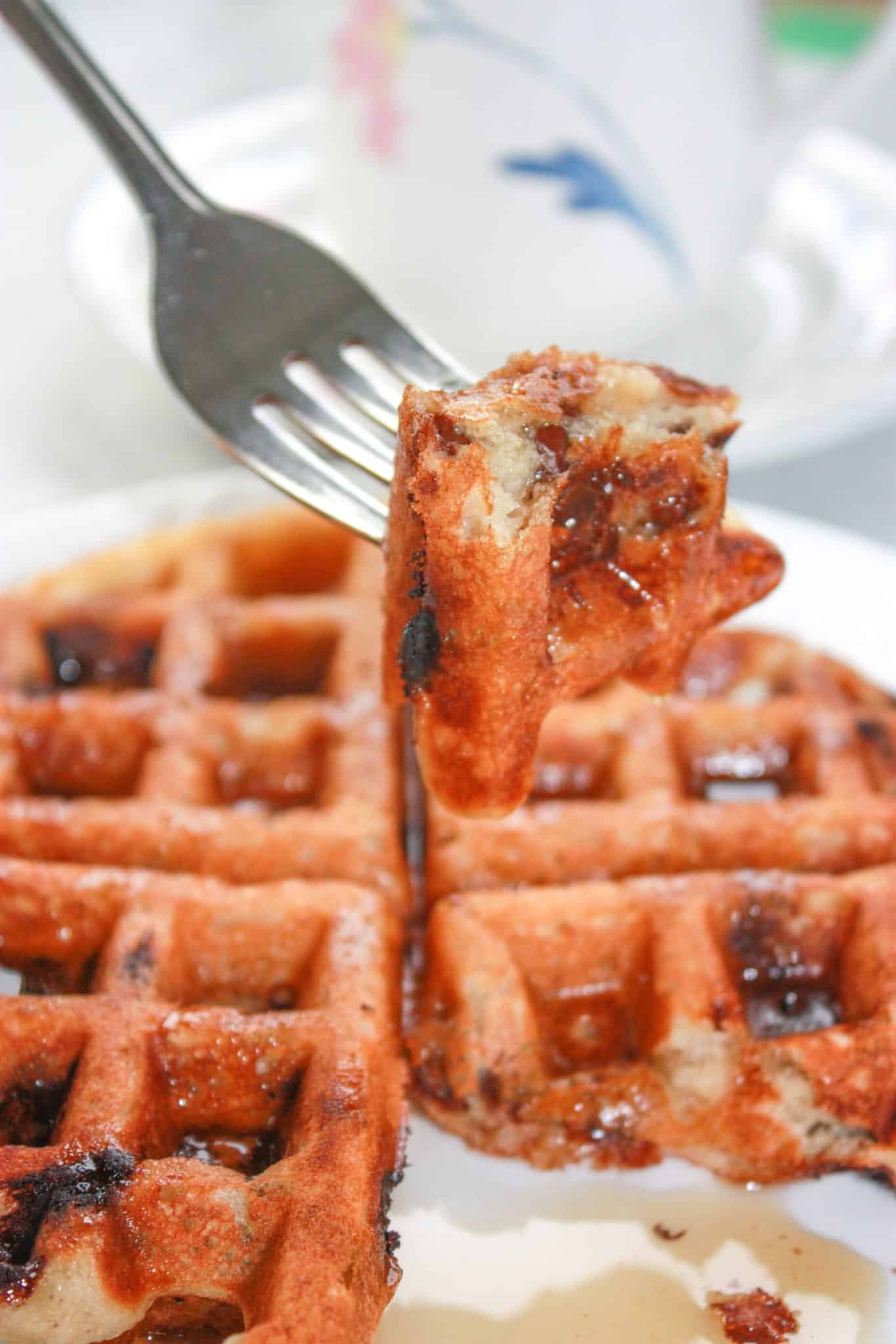 Gluten Free Peanut Butter Chocolate Chip Banana Waffles are loaded with flavour to wake up your taste buds first thing in the morning!